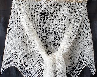 Handknit shetland lace white silk shawl. Knitted shawl, lace silk wedding veil. Shetland lace stole, knitted silk wedding shawl. Bridal knit