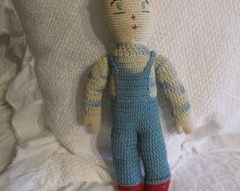Vintage Crochet Cloth Doll OOAK Circa 1940's All Original