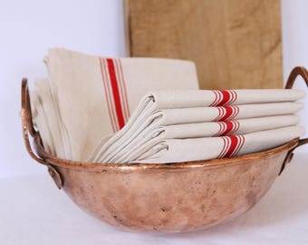 French linen teatowels with red stripe