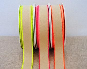 Wide neon edge ribbon - 3m (3.3yds), choose your colour