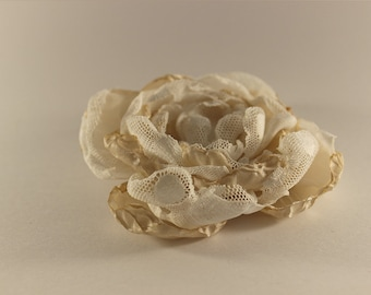Hand made gold and white flower broach or hair accessory with clip   and pin
