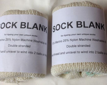 2 X Double Stranded Sock blank - undyed