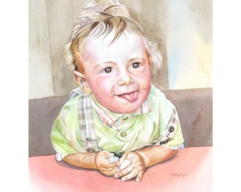 Watercolor Kid Portrait, Little girl watercolor, Family gift, highly detailed painting, professional portrait artist, Birthday Family Gift