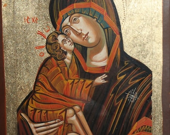 Tempera/Wood Hand Painted Icon Virgin Mary Christ Child