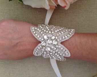 Statement Bridal Cuff, Rhinestone Bridal Bracelet, Bouquet Wrap, Vintage Cuff, Ribbon Bracelet, Wedding Accessories, Bridal Jewelry