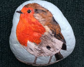 British robin painted rock paperweight