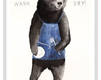 I Wash Bear A3 Print
