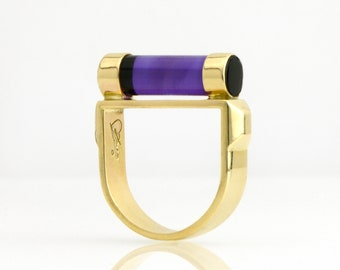 "Vibrant Amethyst ""Fuse"" Design Ring in 14K Yellow Gold Deep Purple Amethyst Stirrup Statement Ring Fine Handmade Jewelry"