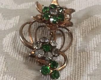 Vintage Brooch, Emerald Brooch, Rhinestone Brooch, Flower Brooches, Vintage Brooches, Flower Pins, Vintage Pins, Brooches, Vintage Pendants