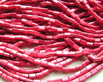 Coral Chicklet 5x3mm Pillow Beads