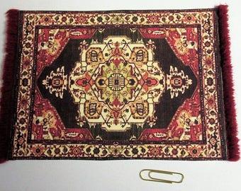 "Oriental 4""x6"" rug Caucasian pattern maroon gold black, center medallion, maroon or black fringe. 1:12 dollhouse miniature. Handmade USA."