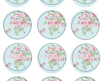Blue and Pink Floral Print Edible Image Cupcake Topper