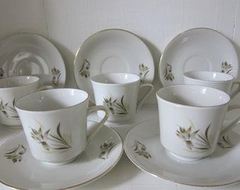 Vintage Z & Co Tirschenreuth Bavaria Tea Cups/Saucers Set of 5