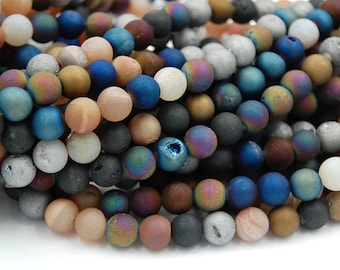 8mm Mixed Druzy Agate Round  -15 inch strand