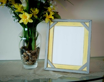 Two Tone Elegant 8x10 distressed rustic picture frame with inner corner accents...pastel yellow and gray or pick your colors...HANDMADE