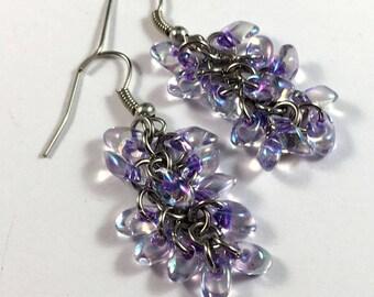 Purple lined crystal AB chainmaille beaded earrings - shaggy loops earrings