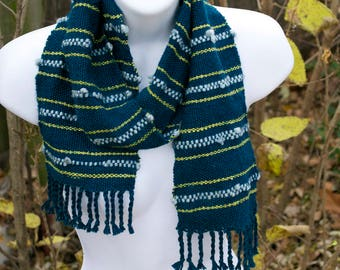 Teal, Lime, Ocean Mist -  Handwoven Scarf - striped turquoise - Rustic Woven eco friendly Winter Warm - Handmade in Kansas, USA