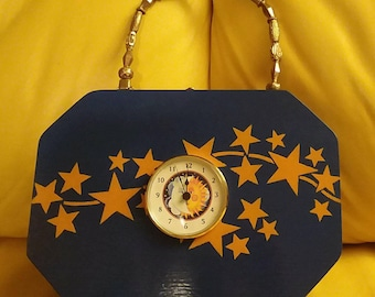 Time Travelers hand painted, and stenciled, lined, wooden purse with clock.