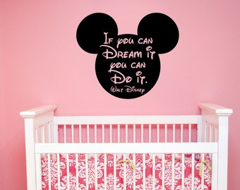 Mickey Mouse Silhouette Sticker Disney Quote Wall Decal Vinyl Lettering Inspirational Art Saying Decorations for Home Kids Room Decor hq19