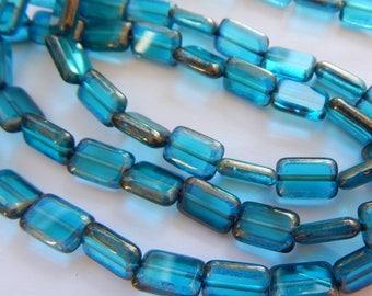 8x12mm Rectangle Table Cut Teal Bronze edge Czech Glass (20 beads)