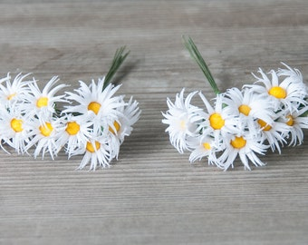 Miniature Daisy Flowers, 20pics Daisy Flowers, Small White Flowers, Wreath Components, Floral Findings, Bouquet Flowers, Miniature Flowers
