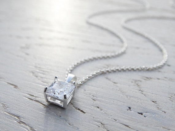 Square Solitaire Cubic Zirconia Necklace - Sterling Silver
