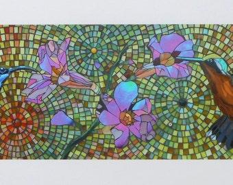 Hummingbird Mosaic Card - Blank Greetings Card - Mosaic Art - Stained Glass Birds - Hummingbird Card - Hummingbird Art - Hummingbird Print