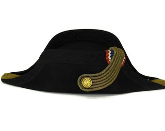 Antique Bicorne Hat. French 3rd Republic Naval Officer Uniform Cocked Hat in Wood Box. Collectible Military Gifts. Nautical Decor.