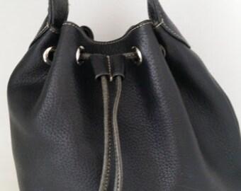 Vintage A. Giannetti Leather Bucket Bag, Drawstring Leather Bucket Bag, A.Gannetti Black Leather Bucket Bag. (SALE SALE SALE)