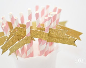 Pink & White Stripe Paper Straws with Gold Glitter Flags - 24 count