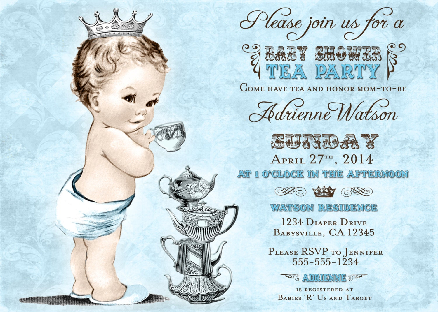 Tea Party Baby Shower Invitation For Boy Prince Crown