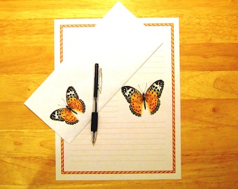 Victorian Style Butterfly - Lined Stationery Set With Envelopes - Snail Mail - Pen Pal Letters - Stationary Writing Paper