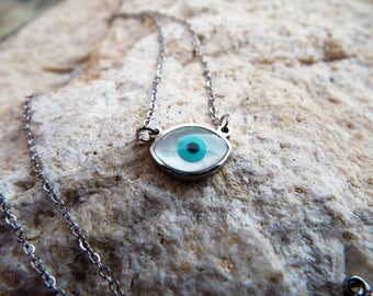 Eye Pendant Silver Handmade Necklace Evil Eye Protection Superstition Greek Symbol Jewelry