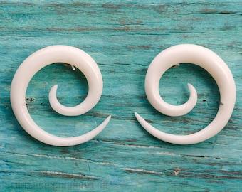 "Gauge Earrings Bone Spiral Gauges  16g 14g 12g 10g 8g 6g 4g 2g 0g 00g 1/2""  Expanders - GA002 B G1"
