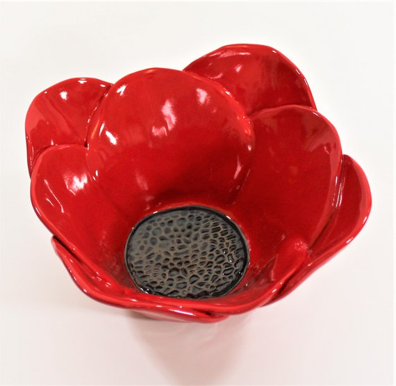 Red Poppy Bowl - Serving Bowl - Candle Holder - Mother's Day - Table Centerpiece - Pottery Bowl - Stoneware - Flower Bowl - Gift for Her