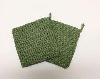 Moss Green, Crochet Pot Holder, Green, Crochet Hot Pad, Handmade, Set of 2, Kitchen Accessories