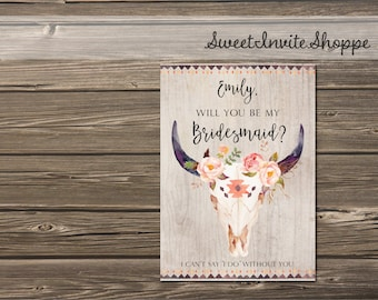 Will You Be My Bridesmaid Card, Boho Bridesmaid Proposal Card, Personalized Tribal Bridesmaid Card, Maid Of Honor, Flower Girl, Printable