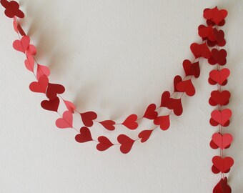 Valentines day decor Red heart paper garland Party decoration Wedding decor Engagement party bachelorette party birthday decor shower decor