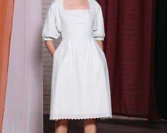 Maarimaia Victorian Flare Midi Mint Green | A Line Dress | Summer Dress | Scallop Hem | Lantern Sleeve | Lace Dress| Broderie Anglaise Dress