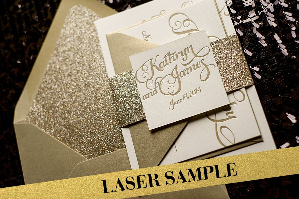 Gold Glitter Laser Printed Wedding Invitation Calligraphy