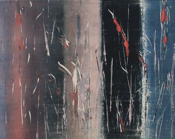 """Original image, Monotype """"Meeting2"""", sheet size 30 x 40 cm, motif size 20 x 30 cm, trees, forest, abstract landscape, night"""
