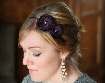 Dark  Purple Double Flower Headband for Women and Girls