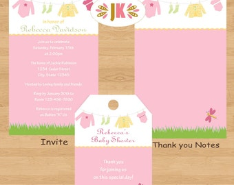 Clothelins Baby Clothesline Girl Baby Shower Printed Invitations