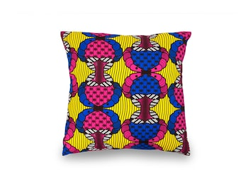 African Wax Print Cushion - Pink & Blue with a button enclosure