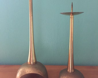 Vintage 1960s Mid Century Modern Pair of Gold Metal Arched Base Candlestick or Votive Holders
