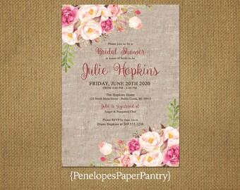 Elegant Rustic Summer Bridal Shower Invitation,Burlap,Blush,Pink,Shabby Chic,Personalize,Custom,Printed Invitation,Envelopes