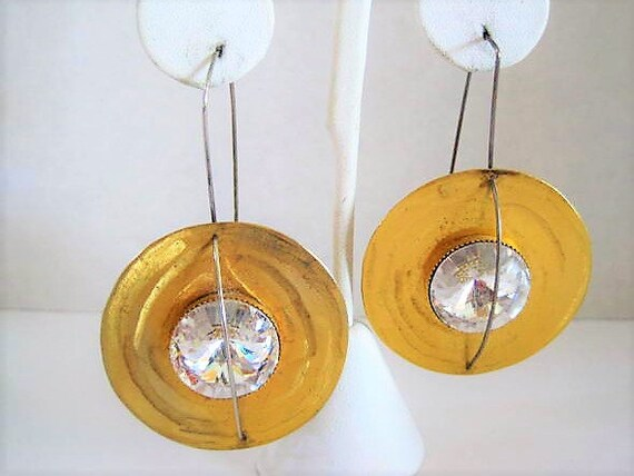 Art Gallery Earrings, Rhinestone Chandeliers, Gold DIscs,  Sterling Ear Wires,  Holiday Evening Pierced