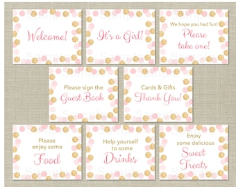 Glitter Baby Shower Table Signs / Glitter Baby Shower / Glitter Dots / Blush Pink & Gold / 8 Printable Party Signs / INSTANT DOWNLOAD A225