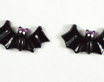 Black Bats With Wings Resin Plastic Kawaii Decoden Kitsch Flatbacks Cabochons 092617