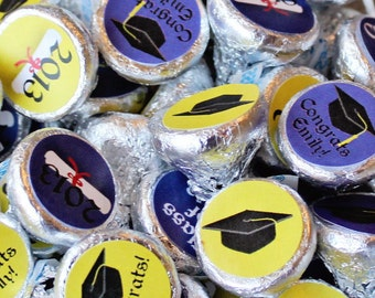 2018 Grads! 600 GRADUATION Hershey's Kiss Stickers SHIPPED - Your School Colors & Mascot! - Customized Candy Labels Delivered - Party Favor